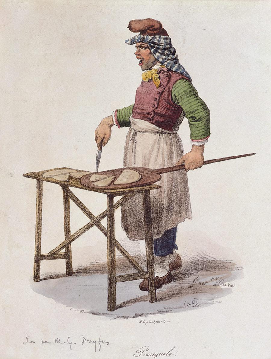 Gian hàng rong bán pizza ở Naples thời xa xưa. Ảnh: History Today.