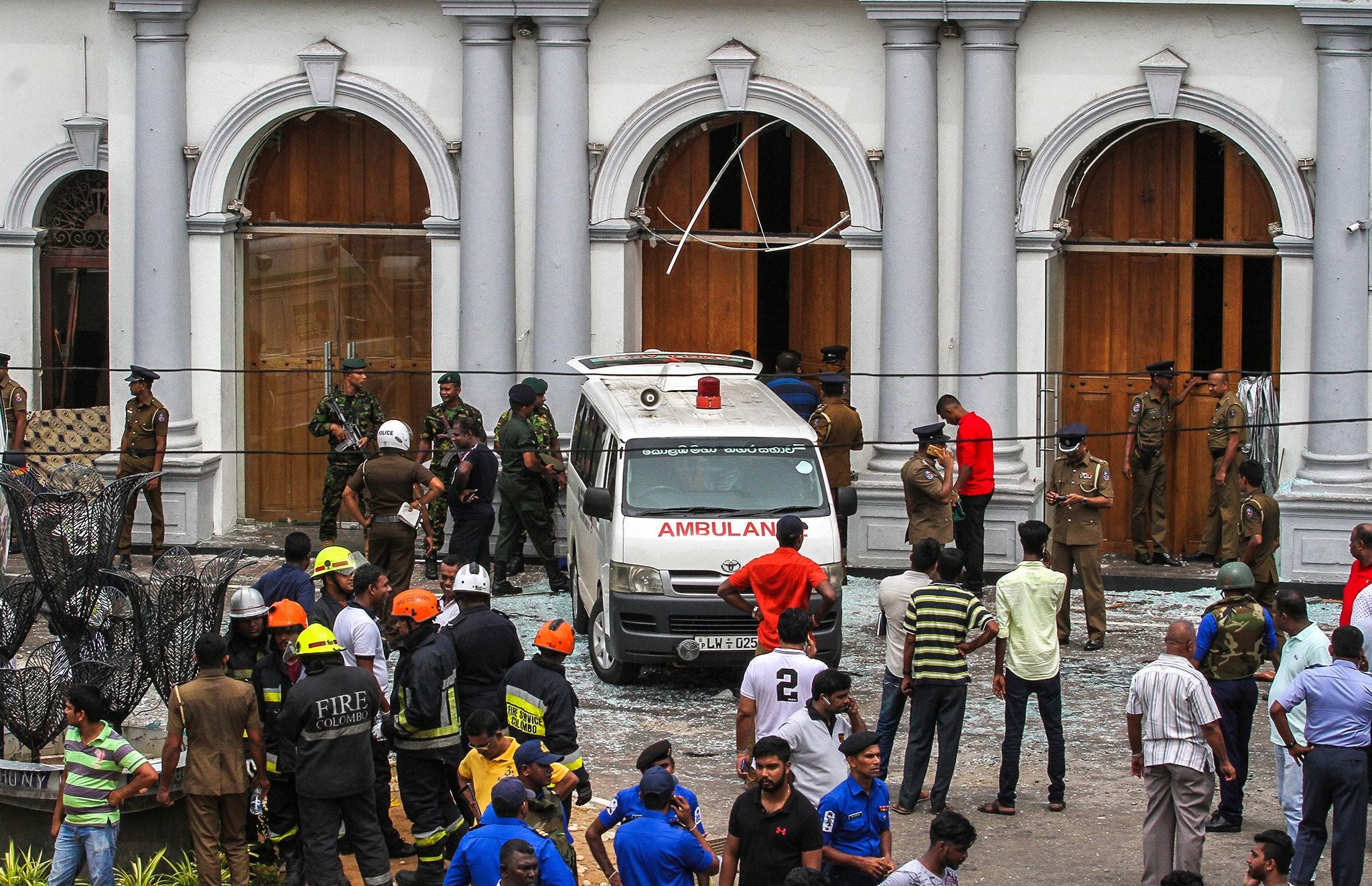 Một địa điểm bị đánh bom tại Sri Lanka. Ảnh: NYT