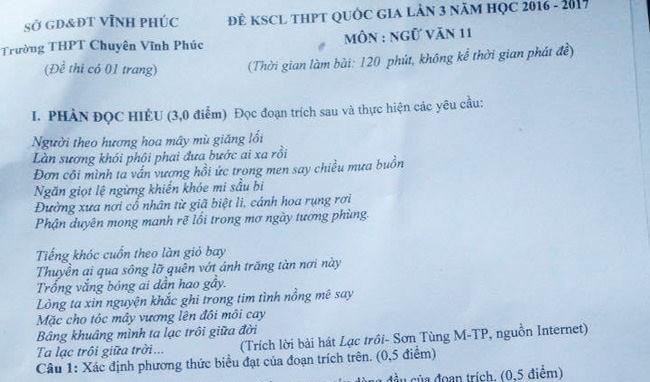 """Đề kiểm tra chất lượng môn Văn lớp 11 của trường THPT Chuyên Vĩnh Phúc (năm 2017) yêu cầu học sinh chỉ ra thông điệp trong bài hát """"Lạc trôi"""" của Sơn Tùng M-TP."""