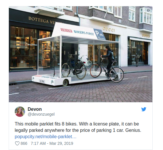 Đoạn tweet của Devon về thiết bị để xe đạp chuyên dụng, có thể nhét vừa 8 chiếc xe. Ảnh: Twitter.