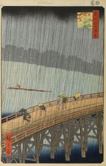 Cơn mưa bất chợt trên cầu(Shin-Ōhashi và Atake) (1857), tranh khắc gỗ của danh họa Utagawa (Andō) Hiroshige(1797-1858), vớinhững quan sát chính xác và tinh tế bậc thầy.