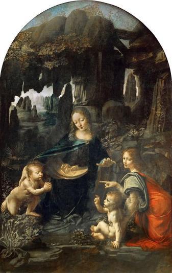 Madonna trong hang đá Leonardo diễn tả hang động thiên nhiên xuất sắc.