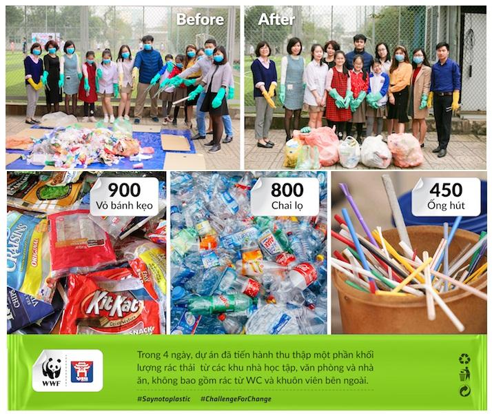 Học sinh trường Việt Úc tham gia kiểm toán rác thải nhựa | Ảnh: VAS