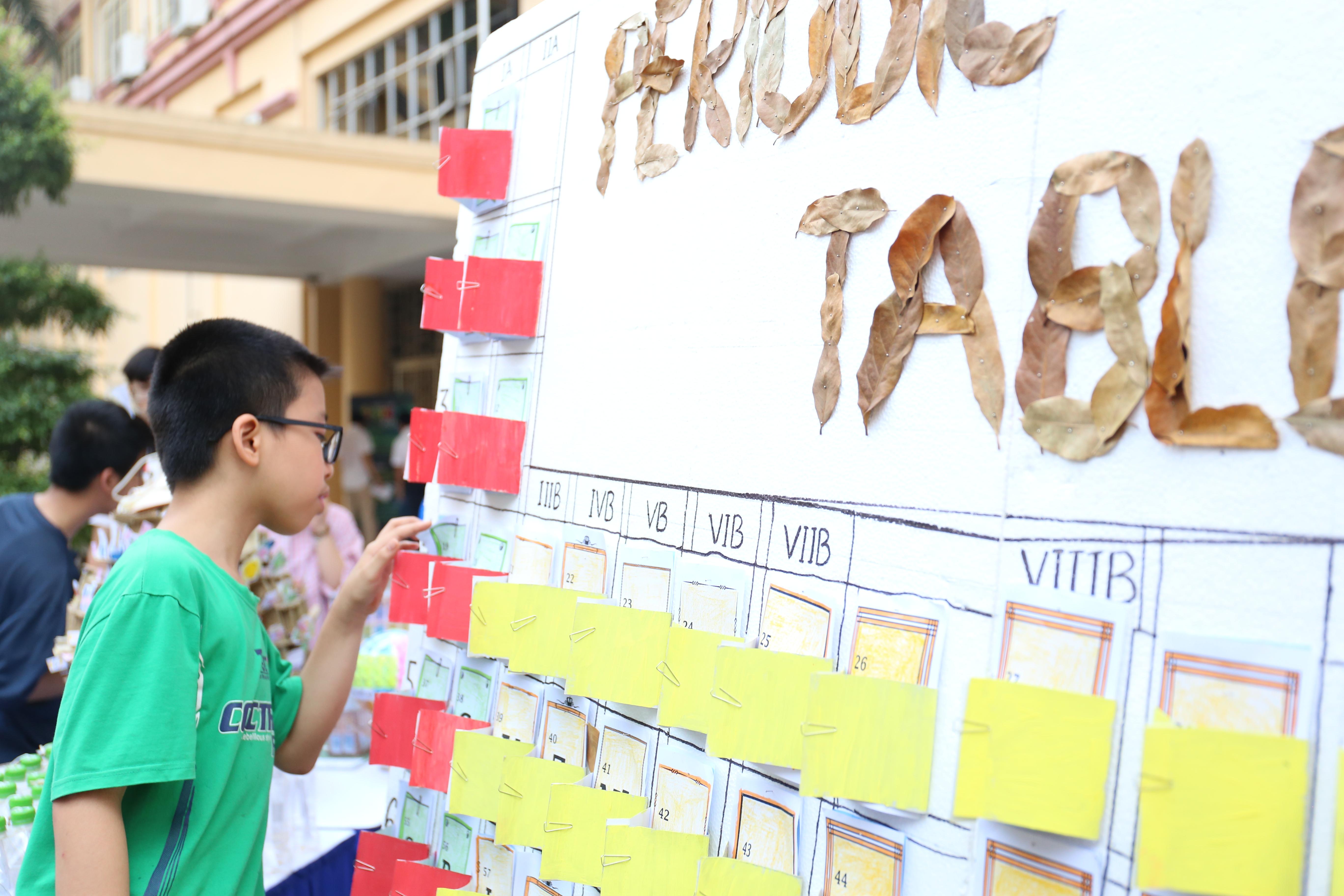 Trưng bày bảng tuần hoàn của học sinh | Ảnh: Ngô Hà