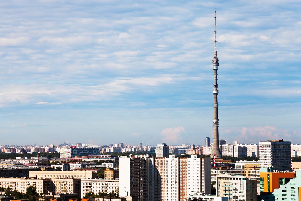 Tháp truyền hình Ostankino (cao 540 m) ở Moscow, hiện vẫn là kiến trúc độc lập cao nhất châu Âu, và xếp thứ 11 thế giới. Ảnh: Shutterstock.