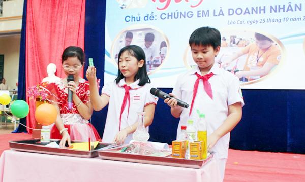 Ngày hội STEM tại trường Tiểu học Bắc Lệnh, thành phố Lào Cai. Ảnh: Báo Lào Cai.