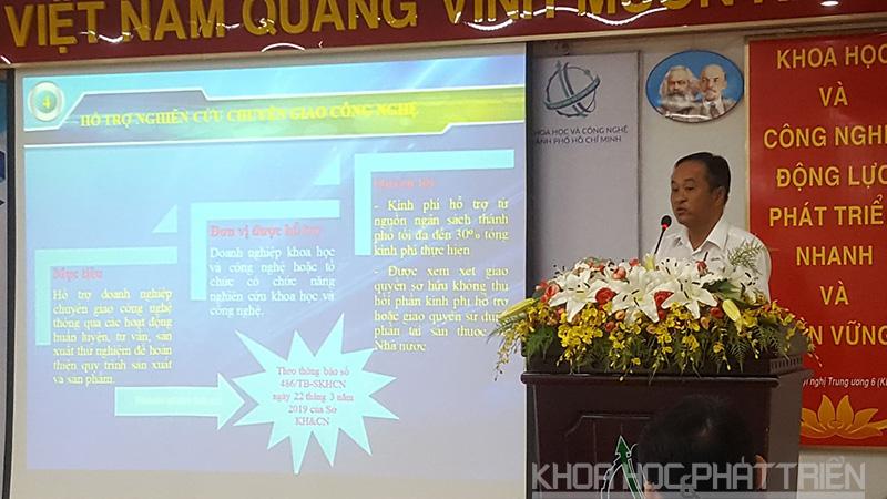 Ông Phạm Văn Xu giới thiệu một số gói hỗ trợ doanh nghiệp của Sở KH&CN TPHCM