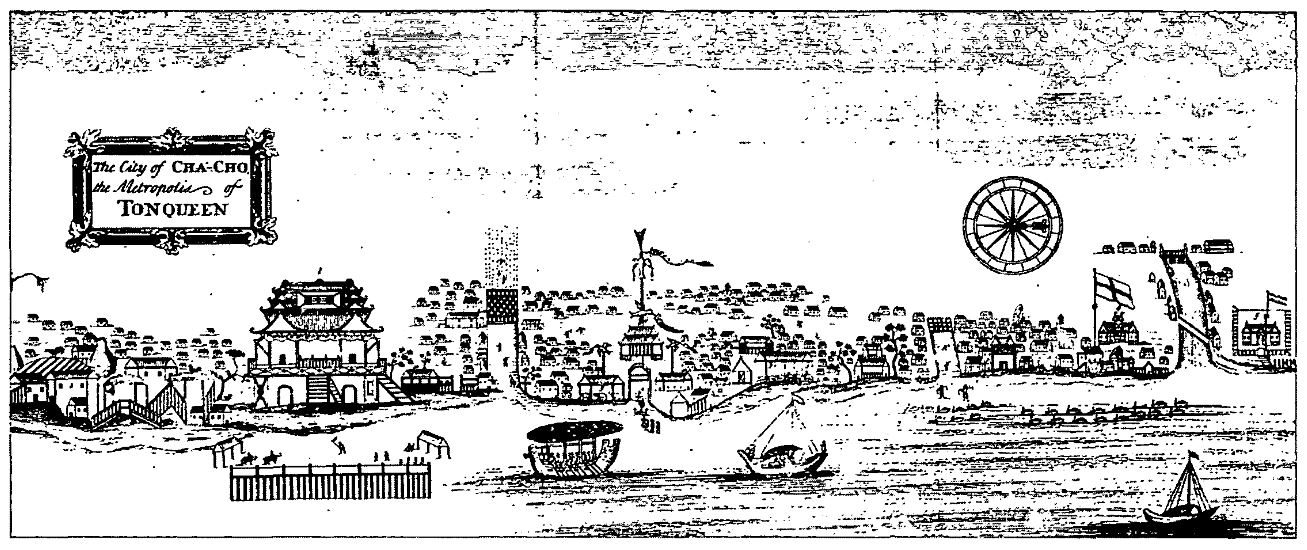 Thăng Long - Kẻ Chợ thế kỷ XVII. Thương điếm của người Anh và người Hà Lan nằm ở phía bên phải ảnh. Nguồn: Hoàng Anh Tuấn (2005).