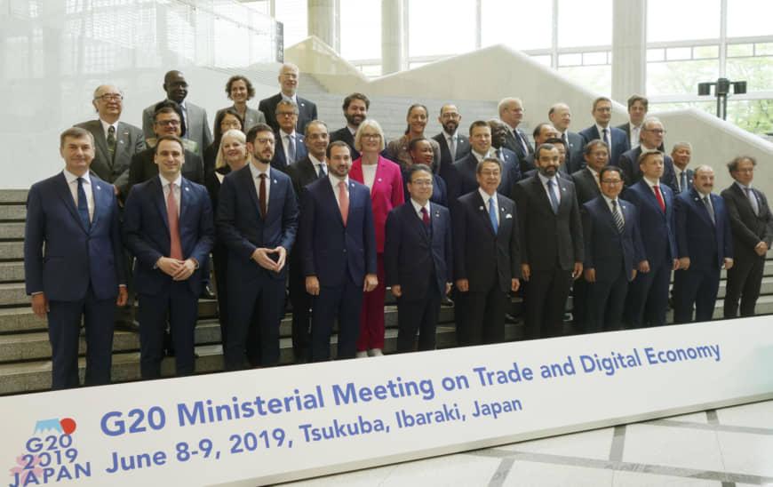 Các bộ trưởng G20 đã tham gia họp bàn về vấn đề thương mại và kinh tế số tại Nhật Bản | Ảnh: Japan times