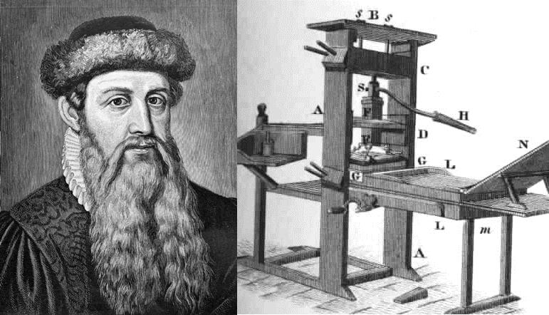 Julian Gutenberg và mô hình máy in do ông sáng chế. Ảnh: Wikimedia.