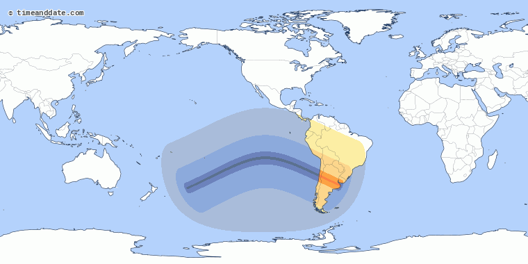 Đường đi của nhật thực toàn phần ngày 2/7. Ảnh: NASA.