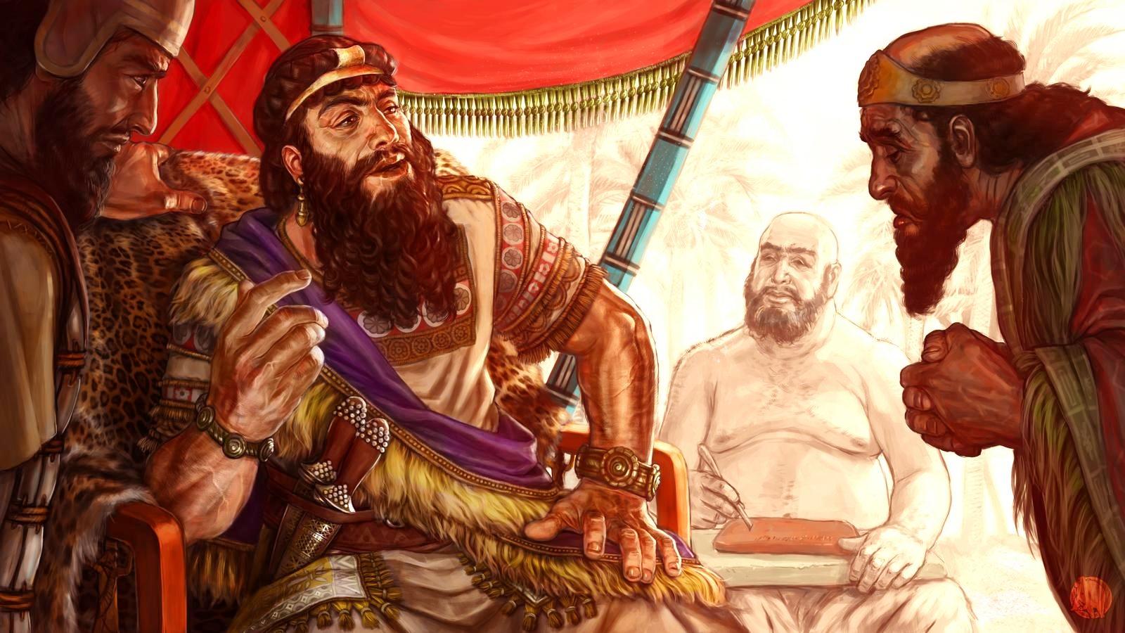 Sargon đang nói chuyện với thuộc hạ của mình. Ảnh: Deviant Art.