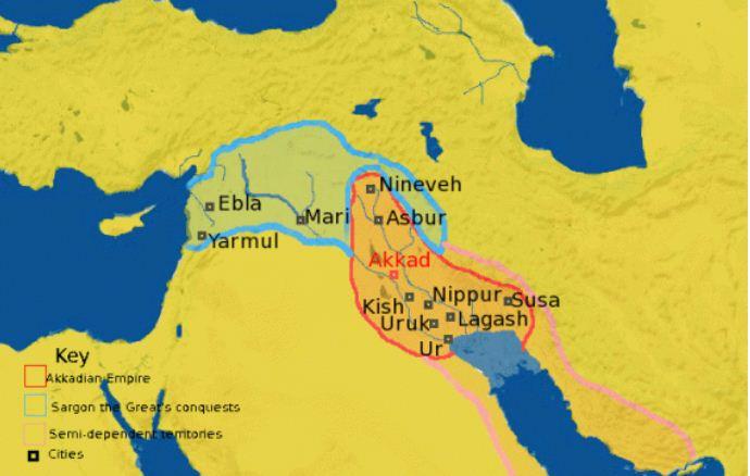 Bản đồ Đế quốc Akkad. Ảnh: Wikimedia.