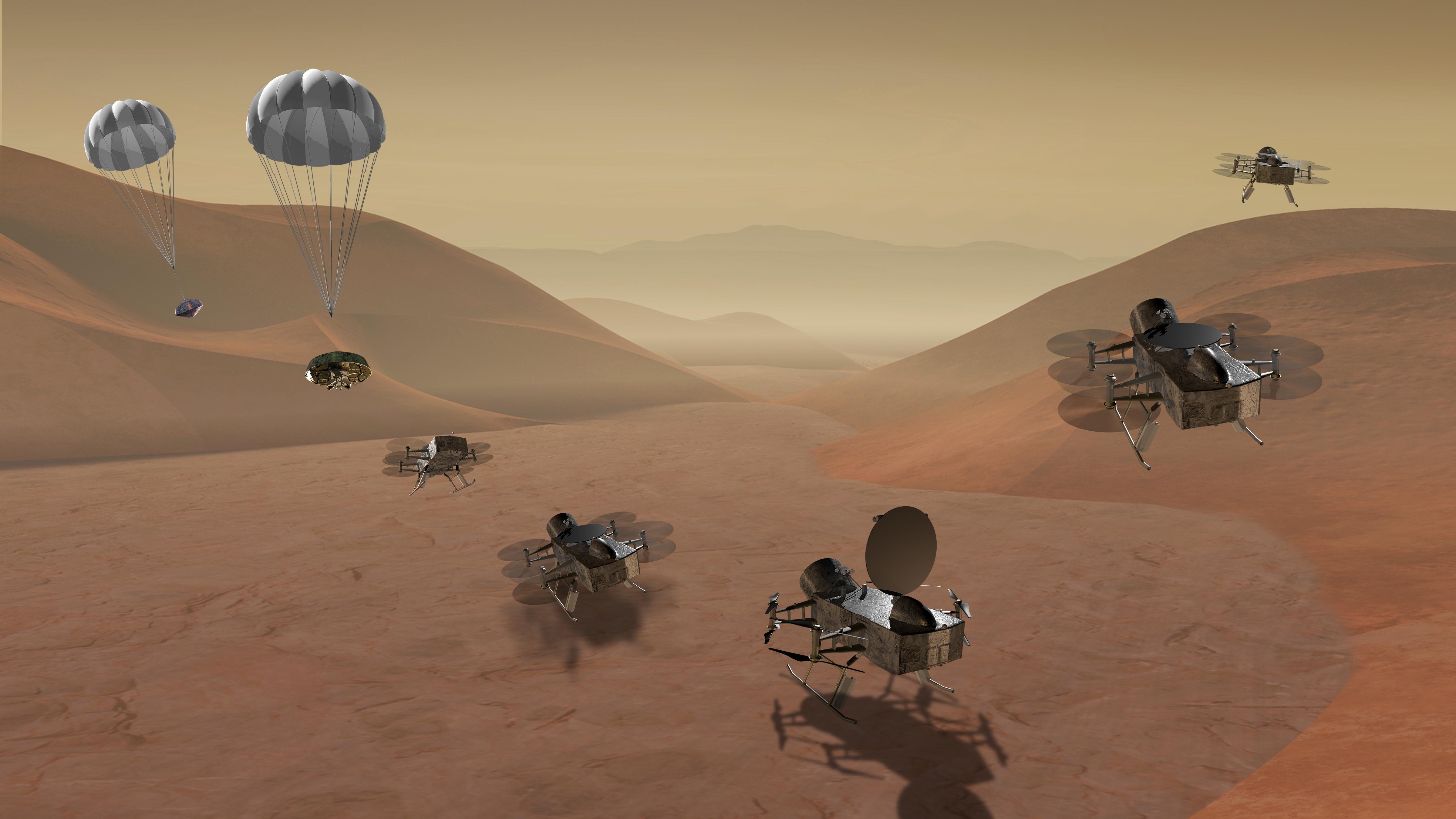 Mô tả phối cảnh dự án Dragonfly. Nguồn: NASA.