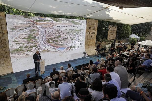 Lễ công bố con đường hành hương có từ 2000 năm trước đây dẫn đến khu đền thờ Do thái ở Jerusalem, ngày 30/6/2019. (Nguồn: AFP/TTXVN)