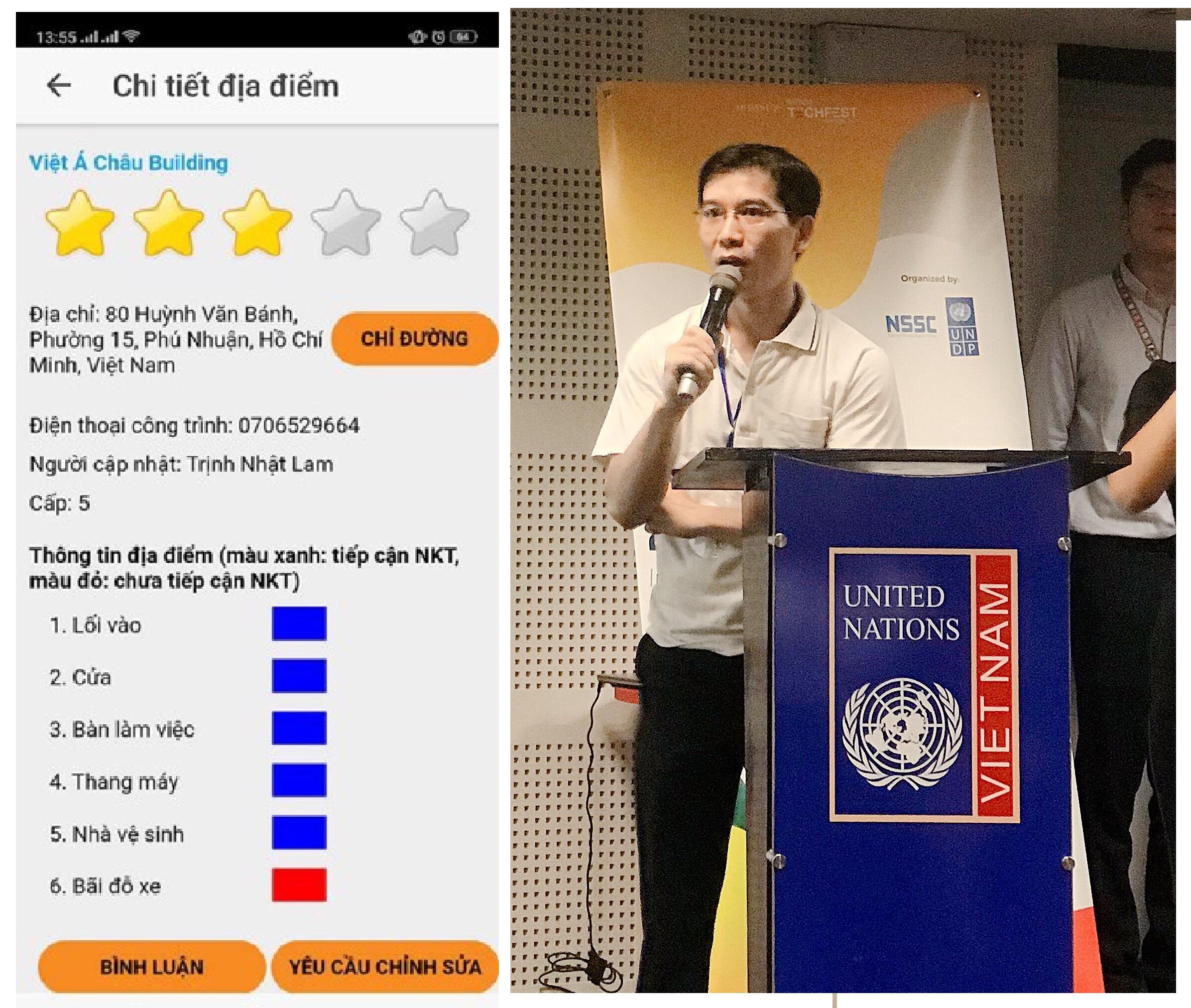Nguyễn Xuân Khánh, đến từ Hội người khuyết tật TP Hà Nội giới thiệu cách sử dụng ứng dụng D.MAP hỗ trợ người khuyết tật | Ảnh phải: Thu Giang