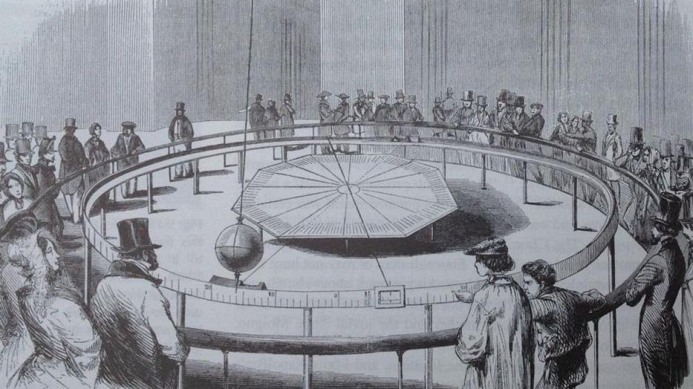 Buổi trình diễn con lắc Foucoult trước công chúng tháng 3/1851. Ảnh: Flickr.