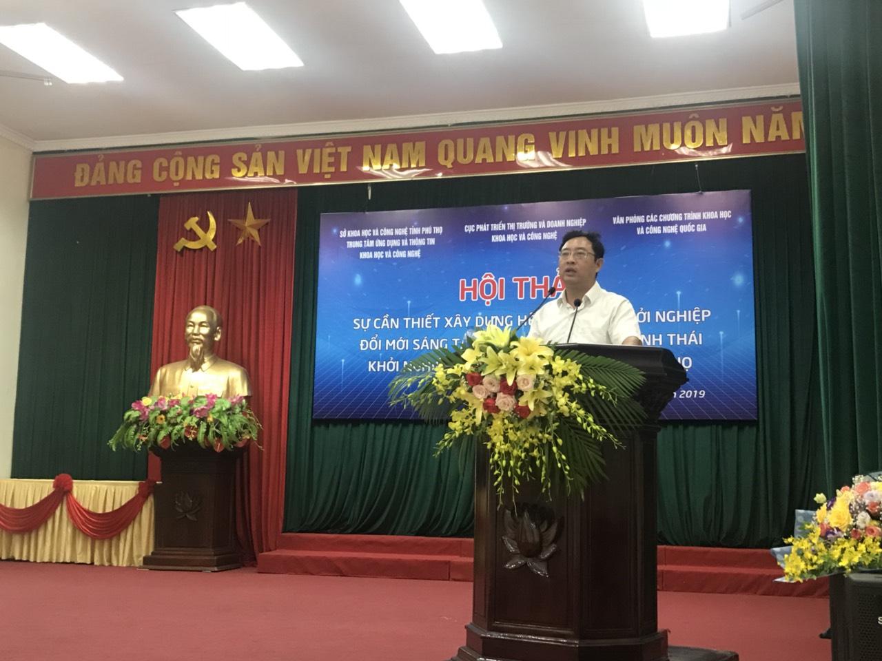 Ông Phạm Hồng Quất tại buổi  hội thảo về hệ sinh thái khởi nghiệp đổi mới sáng tạo ở Phú Thọ | Ảnh: BTC