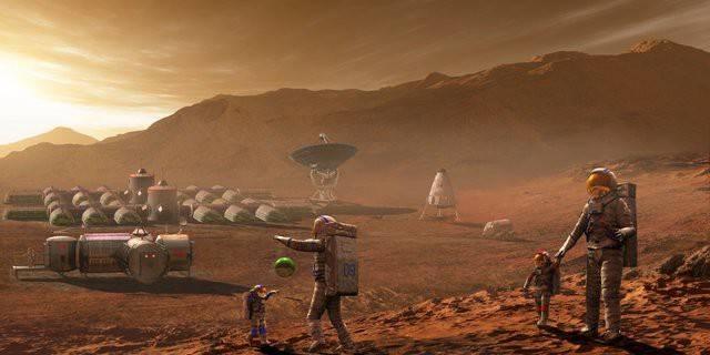 Hình ảnh giả tưởng về một thuộc địa của con người trên sao Hỏa - Ảnh: Internet