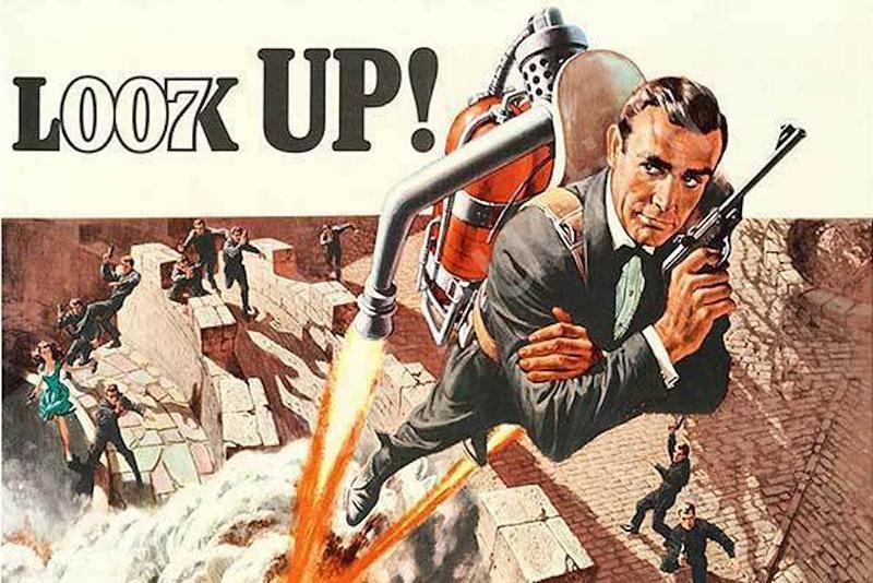 Poster phim Thunderball vẽ hình James Bond sử dụng thiết bị gắn động cơ phản lực đeo lưng để trốn thoát. Ảnh: Boing Boing.