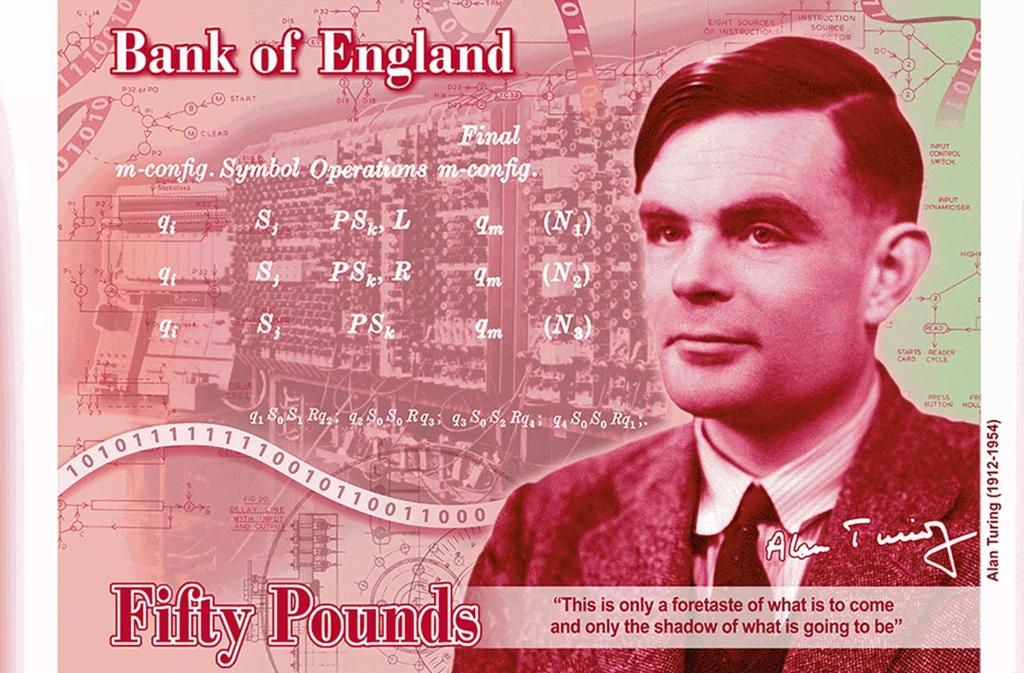 Chân dung Alan Turing sẽ xuất hiện trên tờ tiền 50 bảng Anh vào năm 2021. Ảnh: Bank of England.