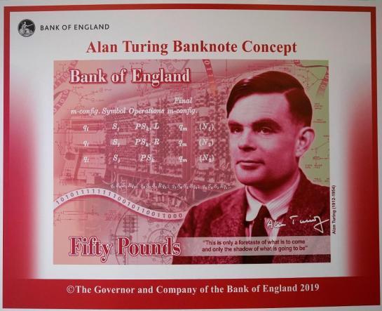 Phát họa giấy bạc 50 bảng Anh có ảnh Alan Turing sẽ được lưu hành chính thức cuối năm 2021.