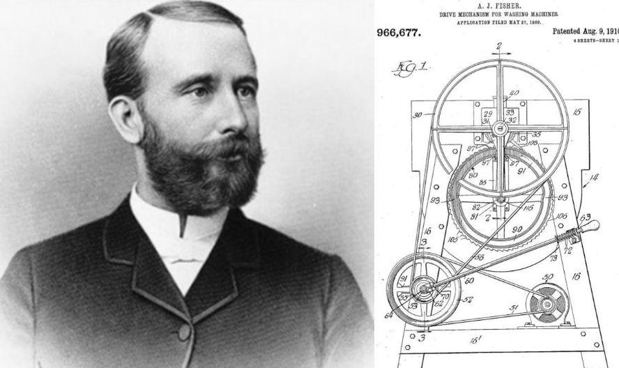 Alva J. Fisher và bản thiết kế máy giặt điện đầu tiên. Ảnh: Wikipedia.