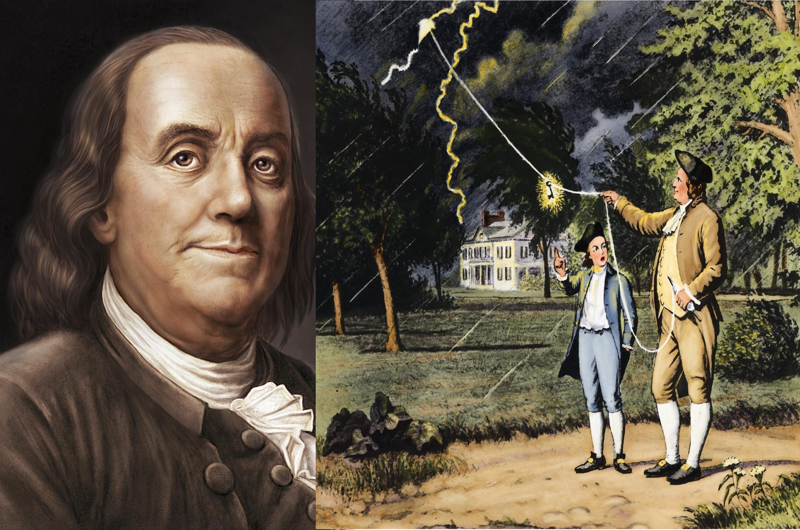 Benjamin Franklin và thí nghiệm thả diều nổi tiếng của ông cùng con trai. Ảnh: History.