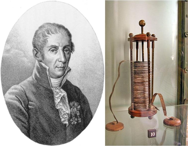 Alessandro Volta và mô hình pin điện đầu tiên của ông. Ảnh: History.