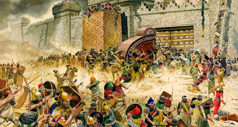 Cuộc chinh phạt Jerusalem của người Babylon. Ảnh: CNN.