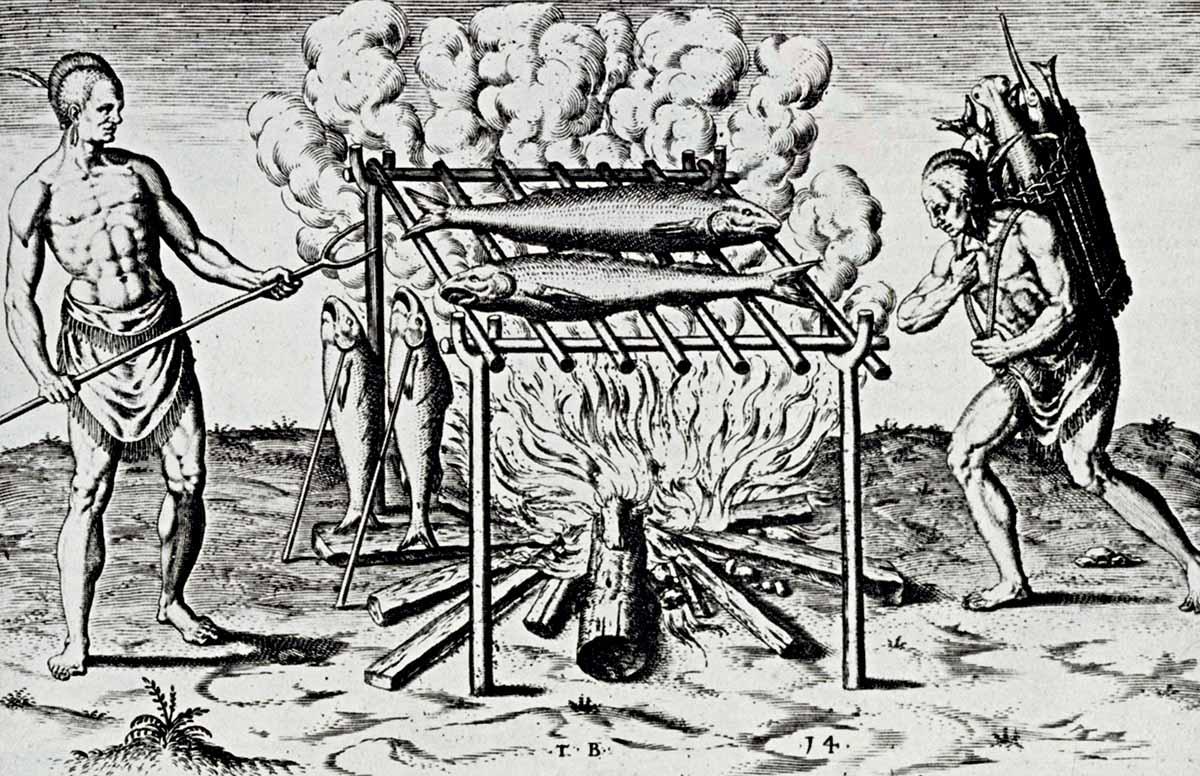 Hình ảnh điêu khắc thổ dân bản địa đang nướng thịt trong A brief and true Report of the New Found Land of Virginia (Báo cáo ngắn gọn và chân thực về Vùng đất mới được phát hiện ở Virginia) của Thomas Harriot (1590). Nguồn: Bridgeman Images.