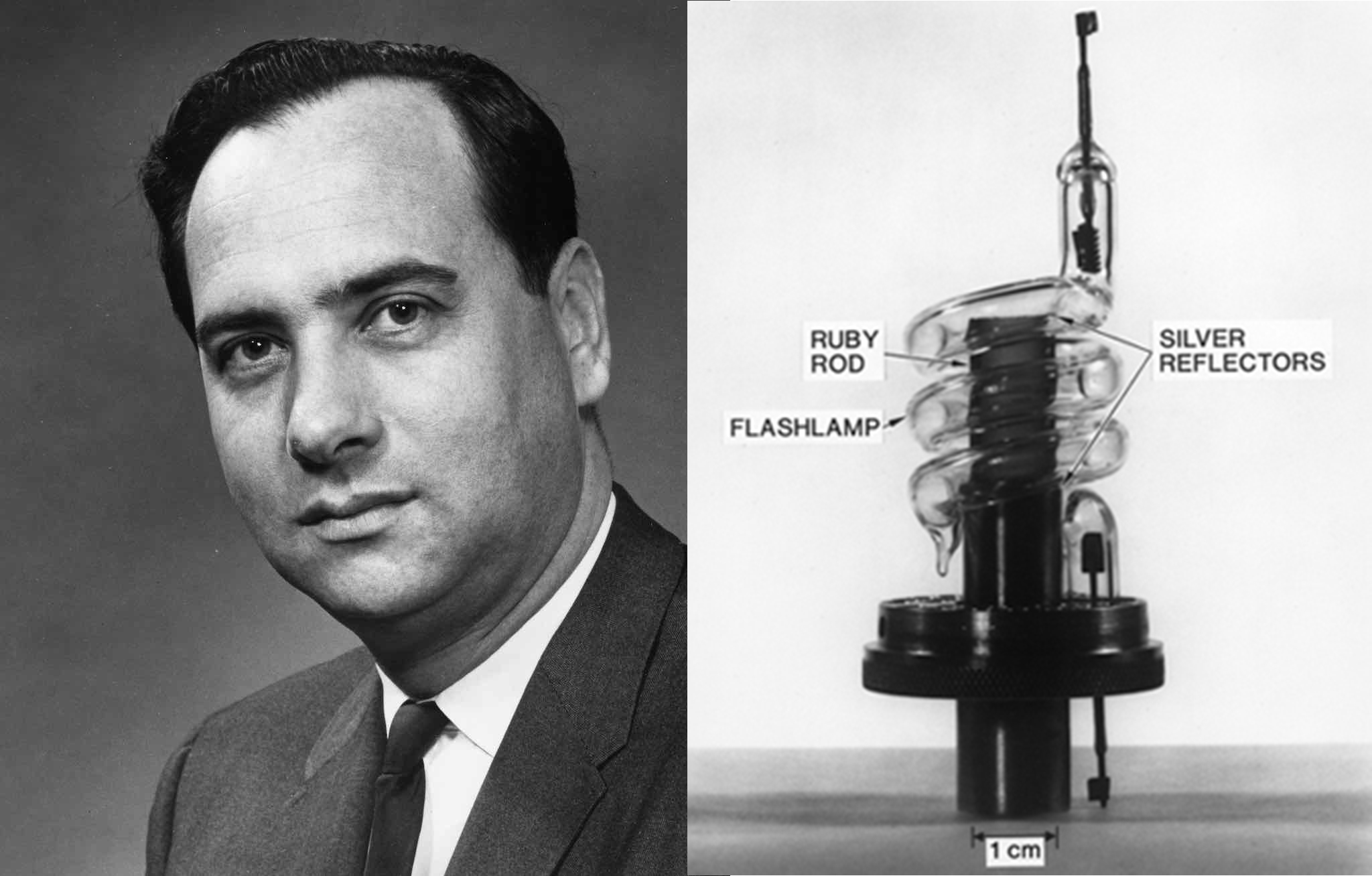 Theodore Maiman và thiết kế máy phát tia laser của ông. Ảnh: Wikimedia.