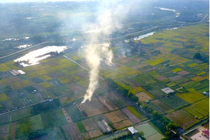 Đốt rơm rạ sau thu hoạch là nguồn gây ô nhiễm không khí. Ảnh: Internet