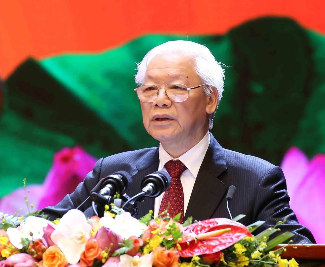 Tổng Bí thư, Chủ tịch nước Nguyễn Phú Trọng phát biểu tại Lễ kỷ niệm cấp Quốc gia 50 năm thực hiện Di chúc của Chủ tịch Hồ Chí Minh. Ảnh: LC