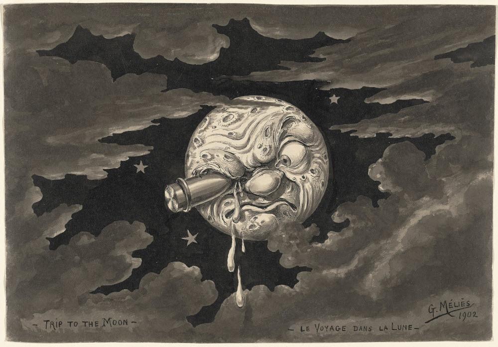 Minh họa bộ phim 'A trip to the Moon' (Chuyến du hành lên Mặt trăng) năm 1902 của Georges Méliès.