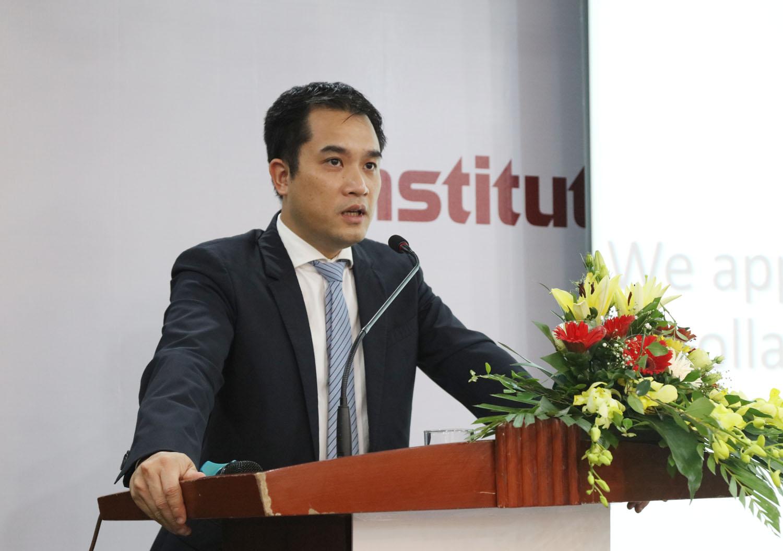 Phó Giám đốc ĐHQGHN Phạm Bảo Sơn phát biểu tại lễ ra mắt Viện Khoa học bền vững