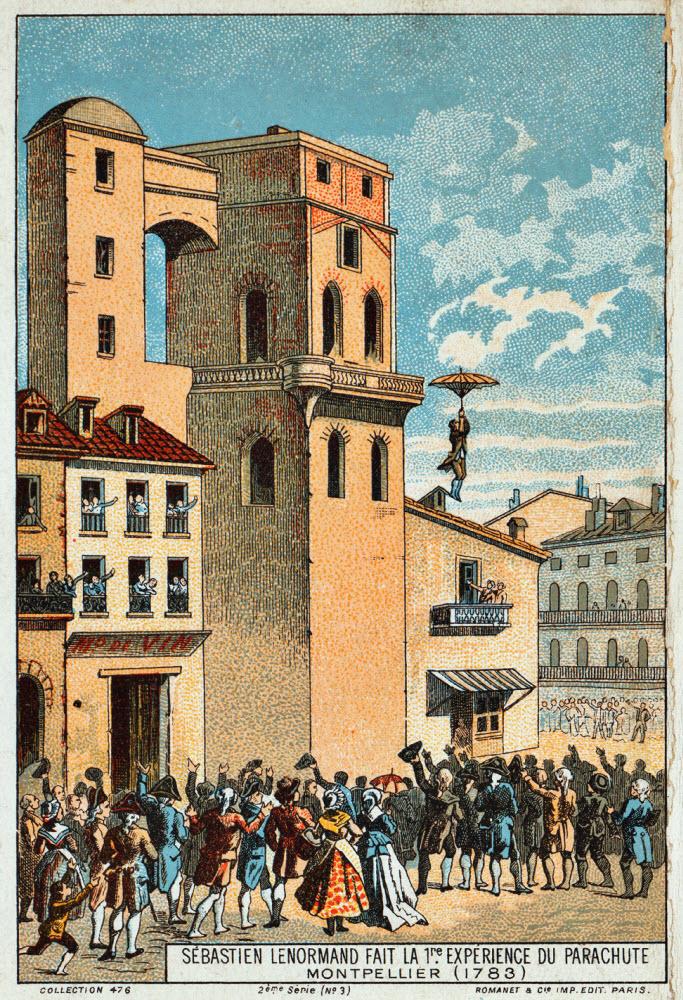 Minh họa màn trình diễn của Lenormand tại Montpellier, ngày 26/12/1783.