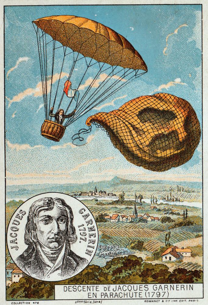 Minh họa Garnerin nhảy dù  từ khí cầu và tiếp đất tại Apollo Monceau, ngày 22/10/1797.