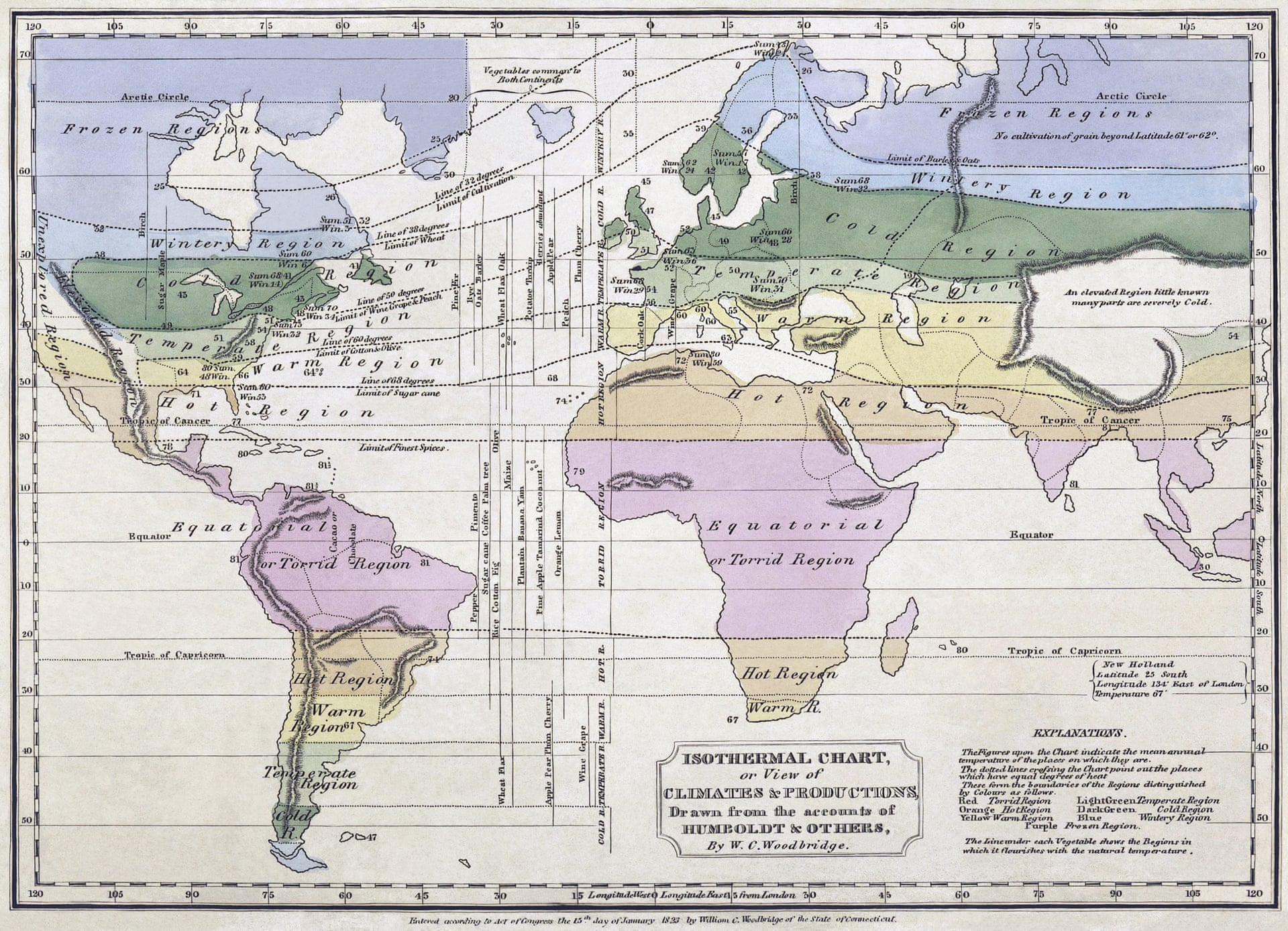 Bản đồ đẳng nhiệt toàn cầu sử dụng dữ liệu thu thập được bởi Humboldt, dựng bởi William C Woodbridge, năm 1823. Nguồn: Alexander von Humboldt/W.C. Woodbridge