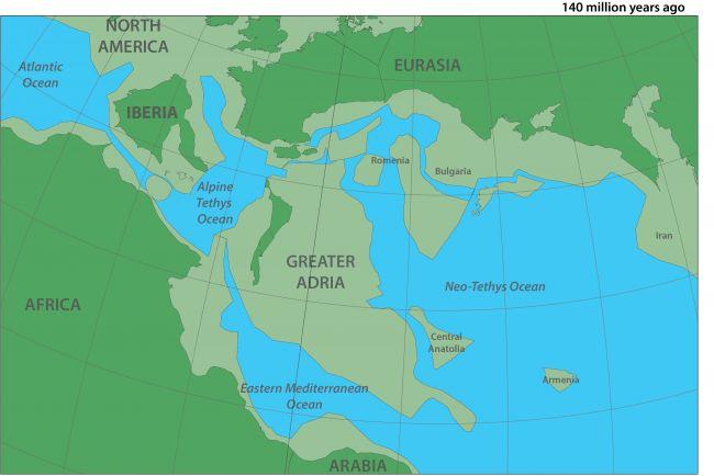 Bản đồ mô tả lục địa cổ đại Greater Adria. Ảnh: Douwe van Hinsbergen.