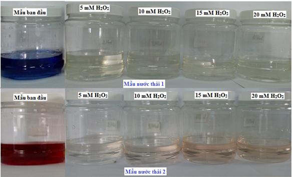 Ảnh hưởng của nồng độ H2O2 tại liều xạ 5 kGy đến màu sắc của các mẫu nước thải.
