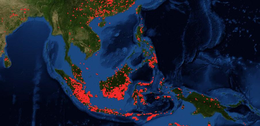 Sau cháy rừng ở Indonesia. Biểu đồ ngày 22/09, trong đó các chấm đỏ biểu thị các điểm nhiệt. Nguồn: FIRMS/NASA