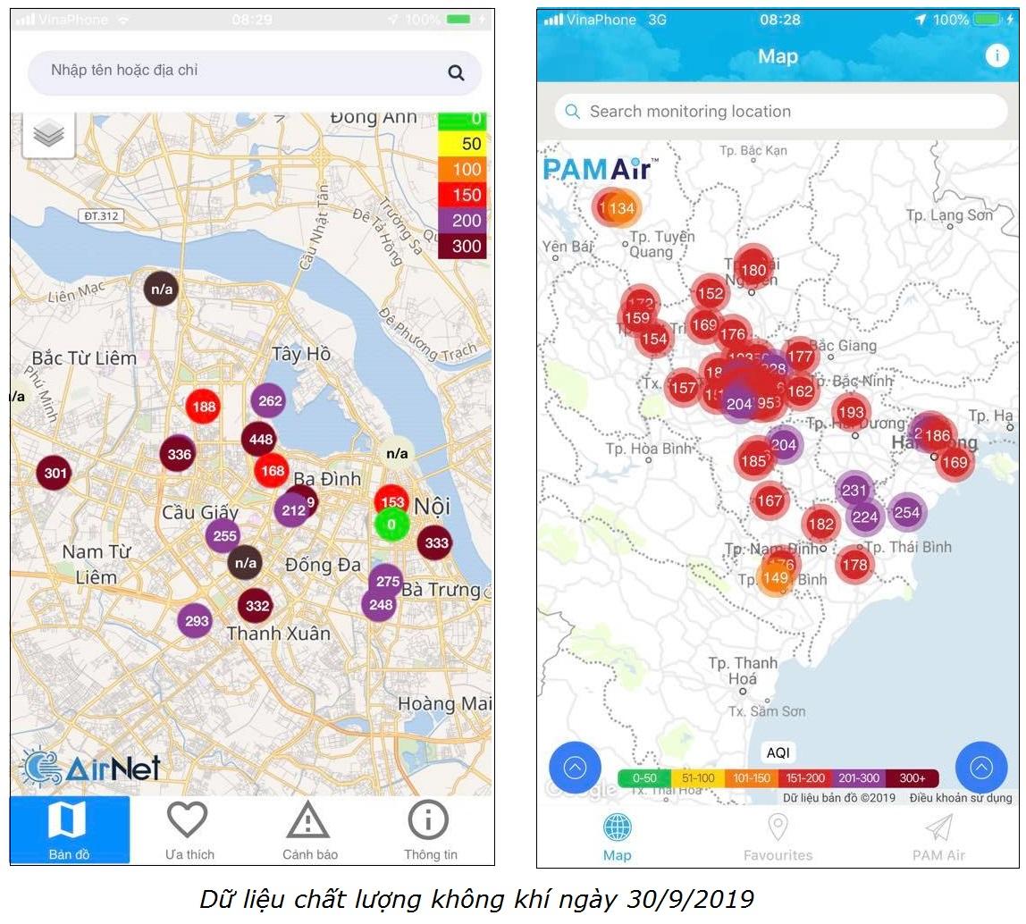 Chỉ số chất lượng không khí AQI ngày 30/9/2019 tại một số địa điểm phía Bắc, hiển thị trên các ứng dụng khác nhau