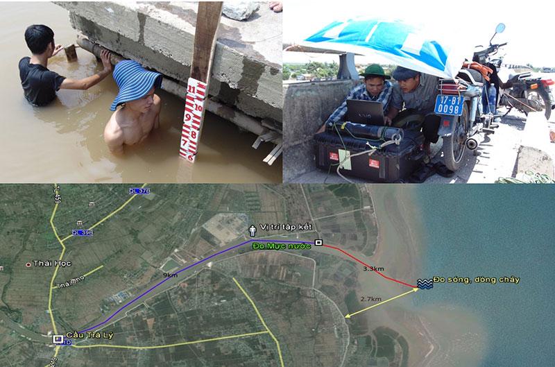 Cán bộ CEFD đang tổ chức bố trí tuyến quan trắc và đo nồng độ bùn cát tại khu vực ven biển Trà Lý, Thái Bình. Nguồn: CEFD