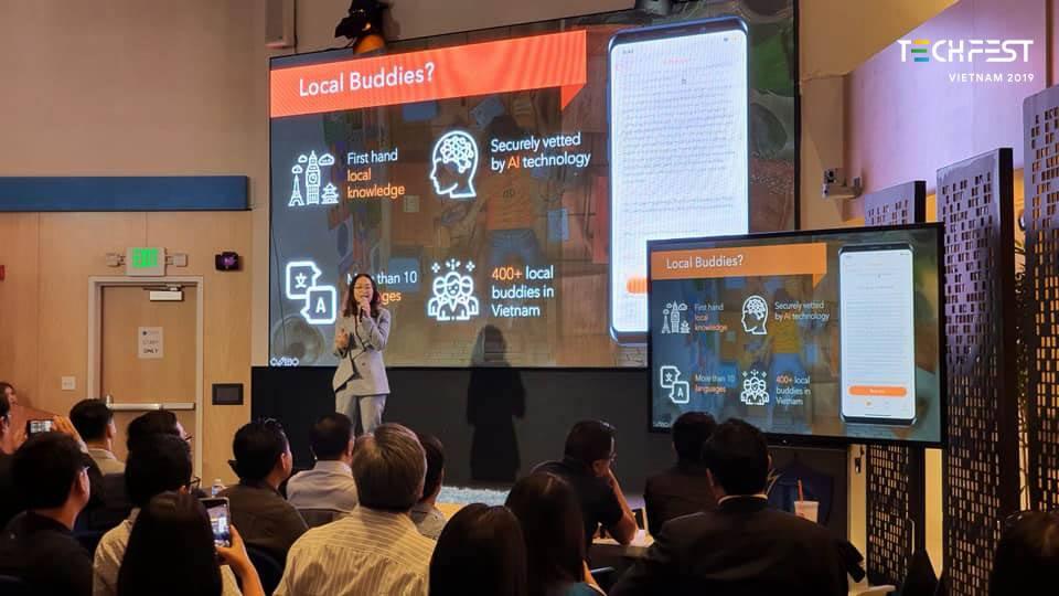 Tạo các cơ hội cho startup kết nối với các nhà đầu tư nước ngoài. Trong ảnh, đại diện Tubudd (ứng dụng du lịch bản địa) thuyết trình với nhiều quỹ đầu tư tại Mỹ vào tháng 9/2019. Ảnh: Techfest Vietnam