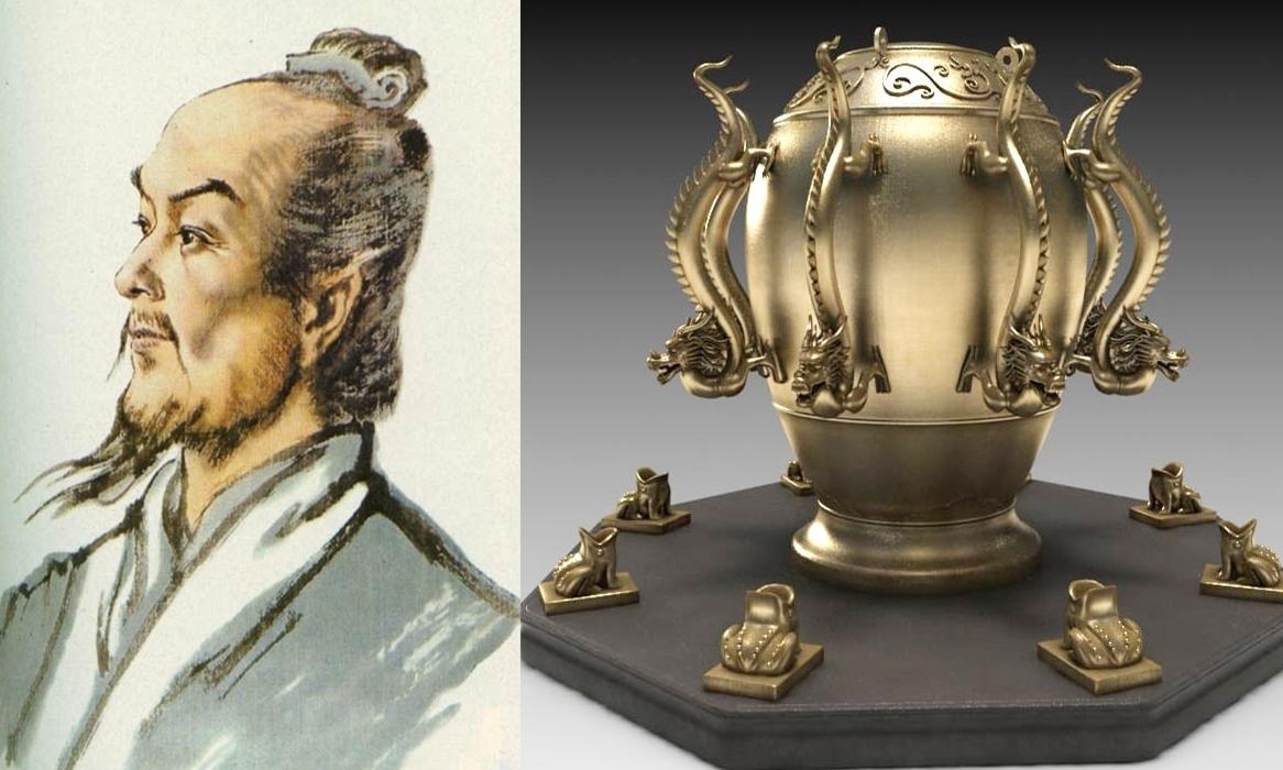 Trương Hành và thiết bị phát hiện động đất của ông. Ảnh: Ancient Origins.
