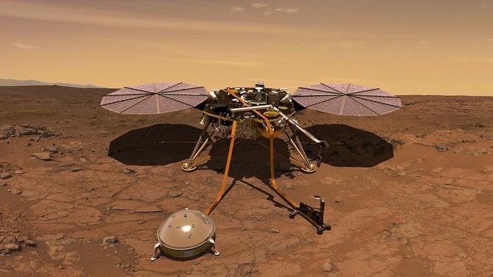 Mô hình tàu đổ bộ SEIS. Ảnh: NASA/JPL-CALTECH