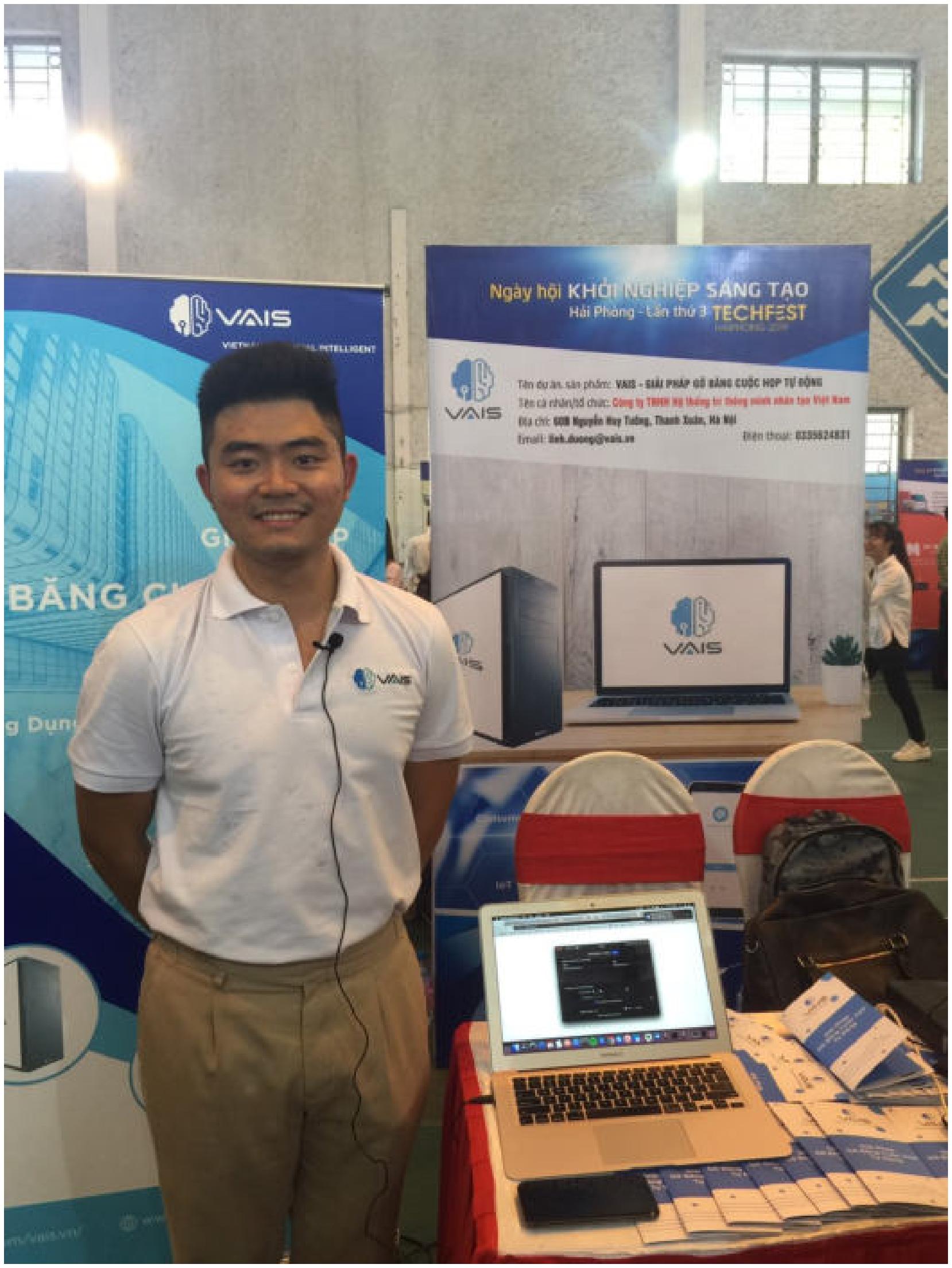 Anh Hoàng Minh Thành - Giám đốc điều hành Công ty VAIS tại Sự kiện Techfest Hải Phòng 2019.