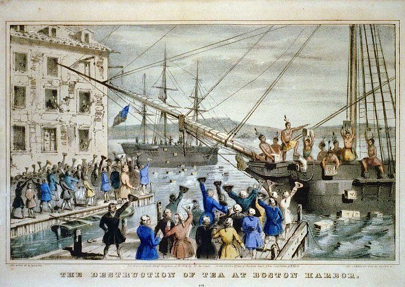 Sự kiện Boston Tea Party là một trong những ngòi nổ dẫn tới Cách mạng Mỹ. Ảnh: Wikimedia.