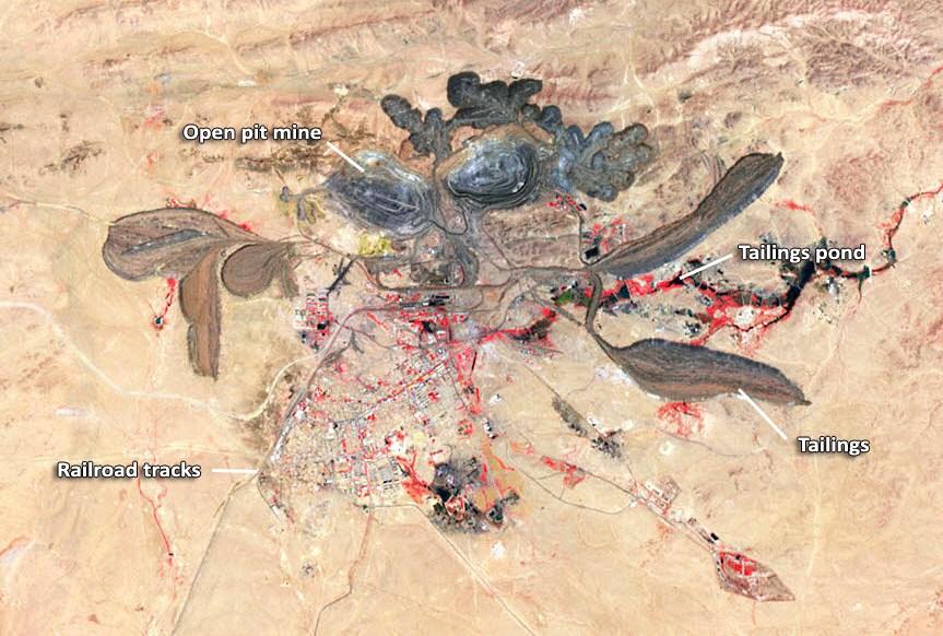 Khu mỏ đất hiếm tại Nội Mông, ảnh do vệ tinh của NASA chụp.